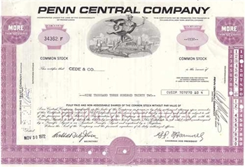 Penn Central Company Stock Certificate - Purple