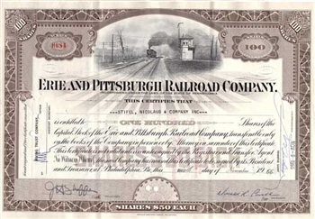 Erie and Pittsburgh Railroad Company Stock Certificate - Brown