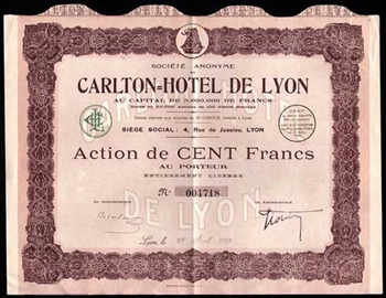 1931 France, Carlton Hotel de Lyon Bond