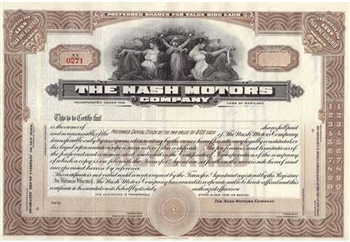 The Nash Motors Company Stock Certificate