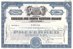 Chicago and North Western Railway Co. Stock Certificate - Blue