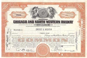 Chicago and North Western Railway Co. Stock Certificate - Orange