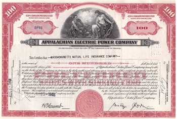 Appalachian Electric Power Company Stock Certificate