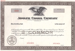 Adolph Coors Company Specimen Stock Certificate