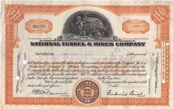 1939 National Tunnel & Mines Company Stock Certificate