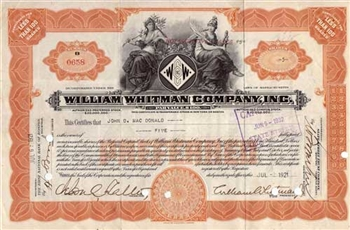 1921 William Whitman Company Inc. Stock Certificate
