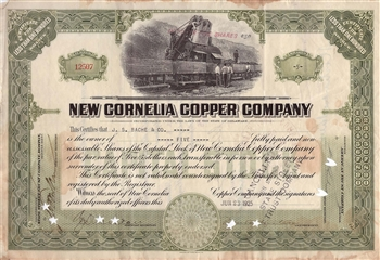1925 New Cornelia Copper Company Stock Certificate