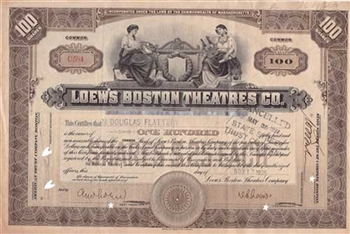 1925 Loew's Boston Theatres Co. Stock Certificate