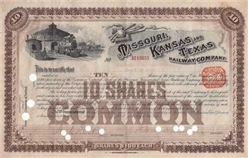 1891 Missouri Kansas and Texas Railway Company Stock Certificate