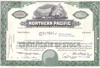 Northern Pacific Railroad Co Certificate - Green