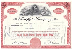 Ford Motor Company Stock Certificate with Henry Ford Red