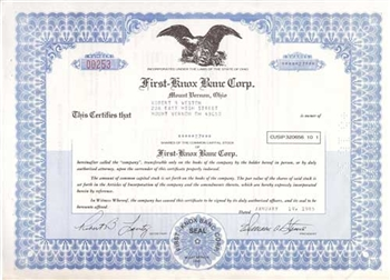 First Knox Banc Corp. Stock Certificate