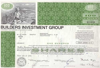 Builders Investment Group Stock Certificate