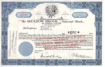 Meadow Brook National Bank Stock Certificate
