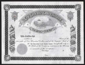 New York and Coney Island Railroad Company Stock Certificate