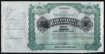 Louisville and Jeffersonville Bridge Company Stock Certificate