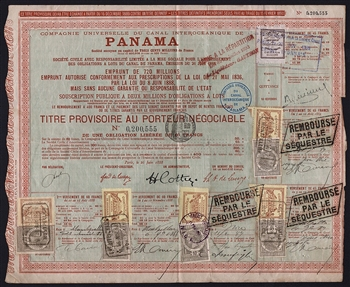 1888 French Panama Canal Bond Certificate
