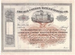 1800's Chicago Cotton Manufacturing Company Stock Certificate