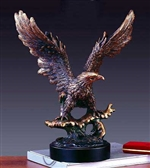 "15"" Bronze Finish Soaring Eagle Statue Figurine"