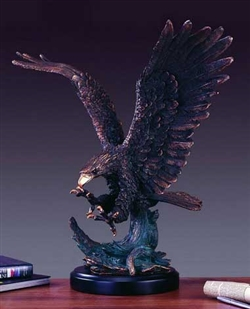 "25"" Bronze Finished Eagle Statue Figurine"
