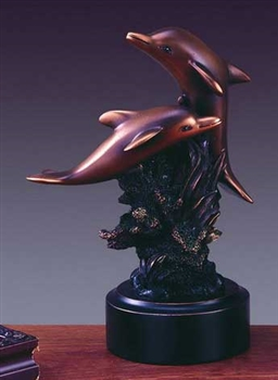 Two Playing Dolphin Statue - Bronzed Figurine