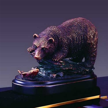 Fishing Bear Figurine - Bronzed Statue