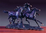 "18"" Galloping Horses Sculpture - Bronzed Statue"