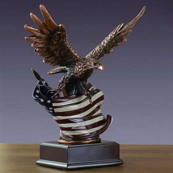 "American Eagle Statue with American Flag - 10"" Bronze Finish"