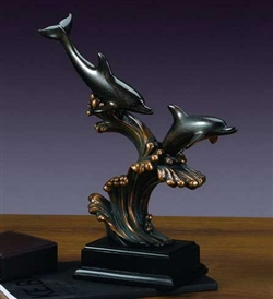 "15"" Waves and Dolphin Statue - Sculpture"