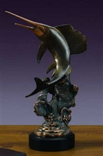 "18.5"" Large Swordfish Sculpture - Bronzed Statue"