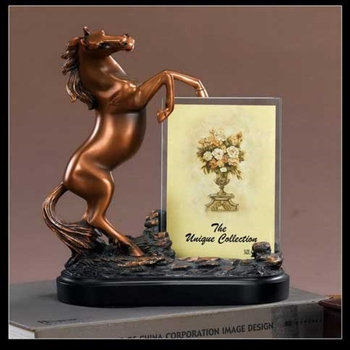 Horse Statue Picture Frame - Bronze Finish