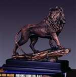 "11"" Proud Lion Statue - Bronzed Sculpture"
