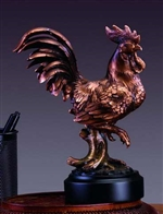 "8"" Rooster Statue - Bronzed Figurine"