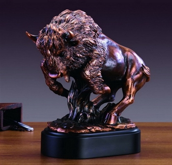 "12.5"" Charging Buffalo Statue - Bronzed Sculpture"