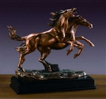"15.5"" Double Horses Statue - Bronzed Sculpture"