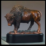 "7"" Proud Buffalo Statue - Bronzed Sculpture"