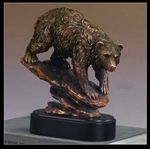 "9.5"" Bronze Finished Bear Statue - Sculpture"