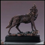 "13"" Large Howling Wolf Statue - Bronzed Sculpture"