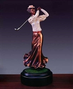 "10"" Classic Lady Golf Trophy - Bronzed Statue"