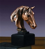 "7.5"" Horse Head Statue - Bronzed Sculpture"
