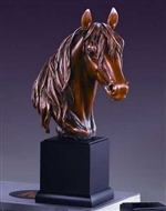 "14.5"" Horse Head Statue - Bronzed Sculpture"