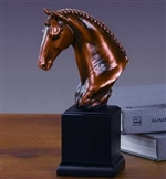"9"" Braided Horse Head Statue - Bronzed Sculpture"