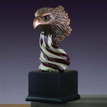 "12"" Eagle Head with the American Flag Statue – Figurine"