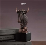 Wildebeest Head Bust Statue - Bronzed Sculpture