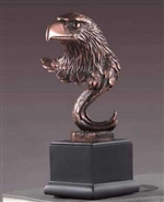 "9.5"" Stoic Eagle Head Statue - Bronze Finish Figurine"