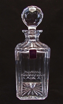 PaineWebber President's Council Crystal Decanter