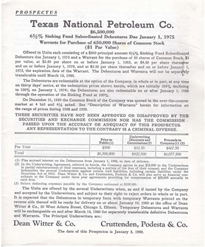 1960 Texas National Petroleum Bond Prospectus