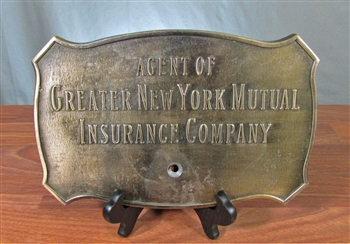 Agent of Greater New York Mutual Insurance Brass Sign