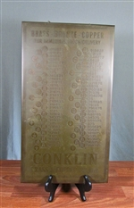 Antique Conklin Brass & Copper Co Sign