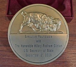 NYSE Medallion Honoring Hillary Clinton - Secretary of State